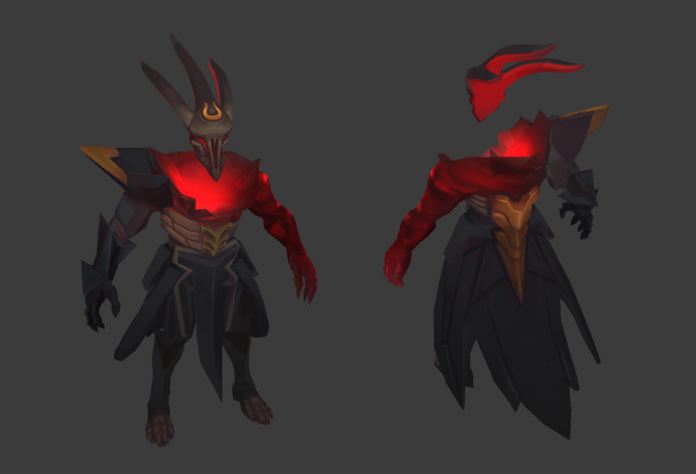 Early in development Dark Star Tresh was painted with an array of reds. This color scheme was changed to distinguish him from his Blood Moon counterpart.