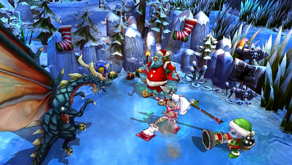 Early in development, artists copied items from the first winter map and placed them in the new one, but the colors were too bright and noisy for the upgraded landscapes.