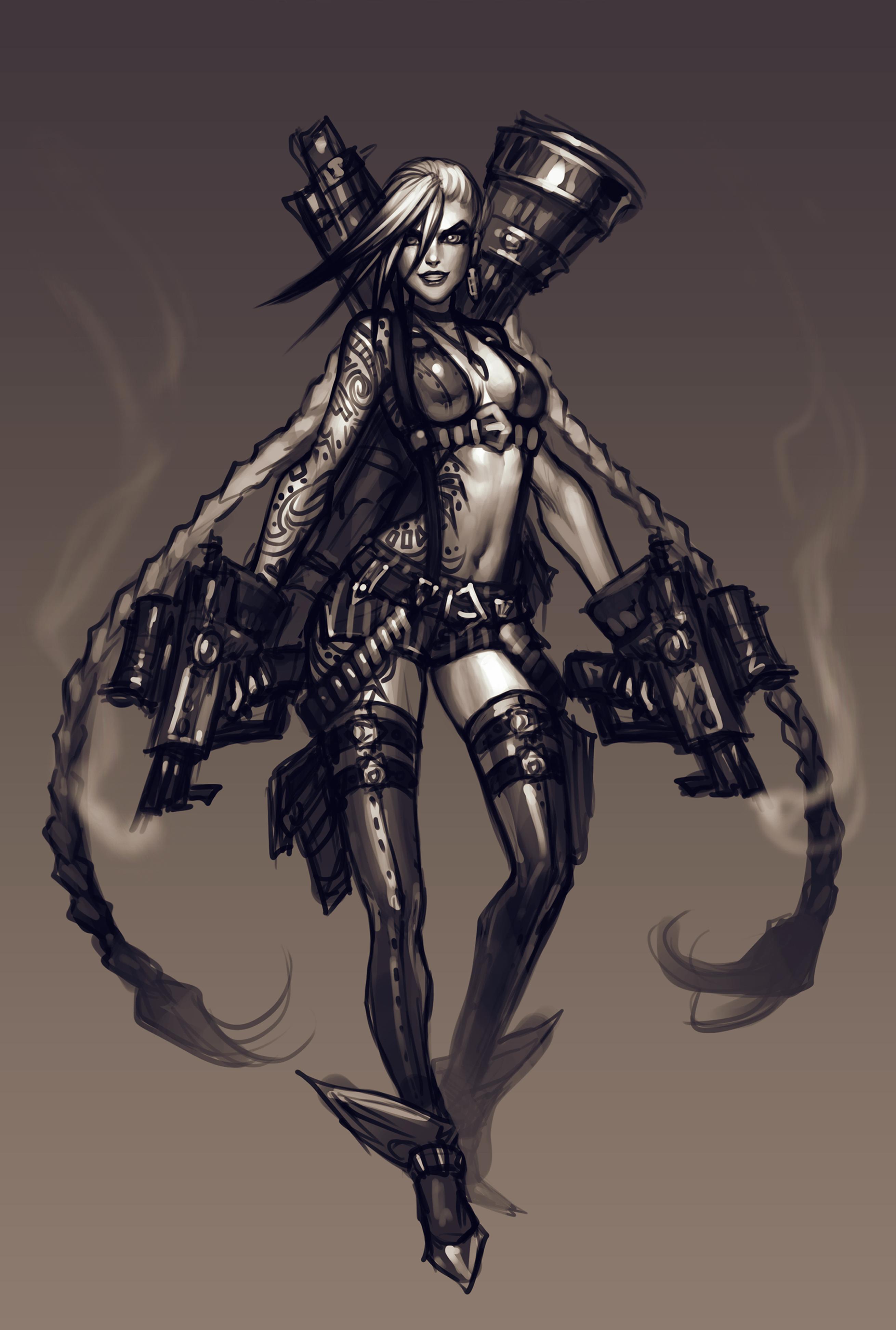 Original Concept Art for Psycho Arsenal (Jinx)
