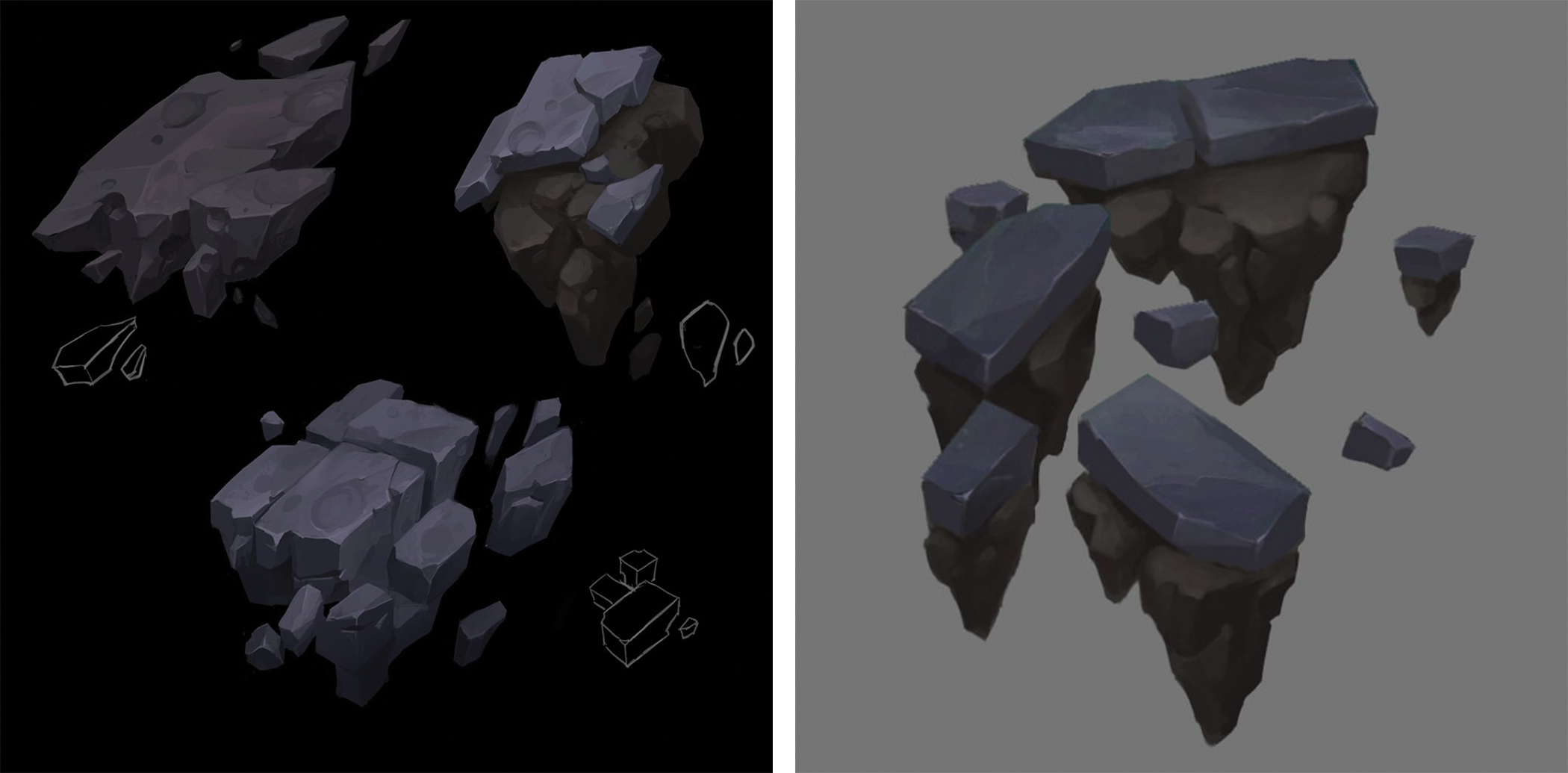 Exploring what rock and dirt might look like on torn away pieces of SR