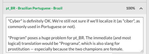 Brazil red flags the translation for Program skins (they ended up going with Cibernética)