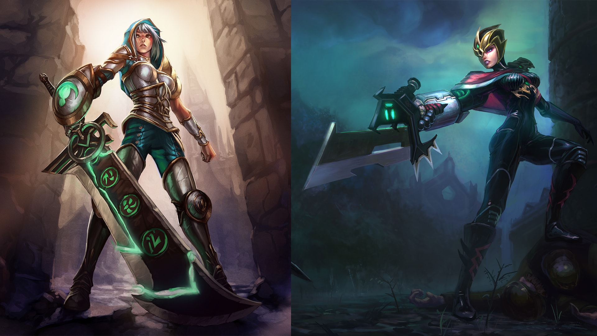 Riven's two release skins were meant to show two possible outcomes of her wandering: Redeemed Riven forged her own path and became semi-holy, while Crimson Elite Riven returned to Noxus and became a commander.