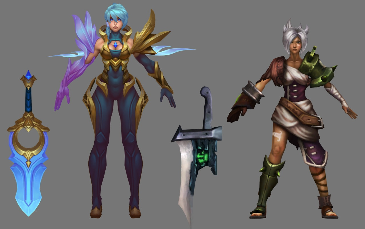 Dawnbringer Riven and Base Riven Character Models