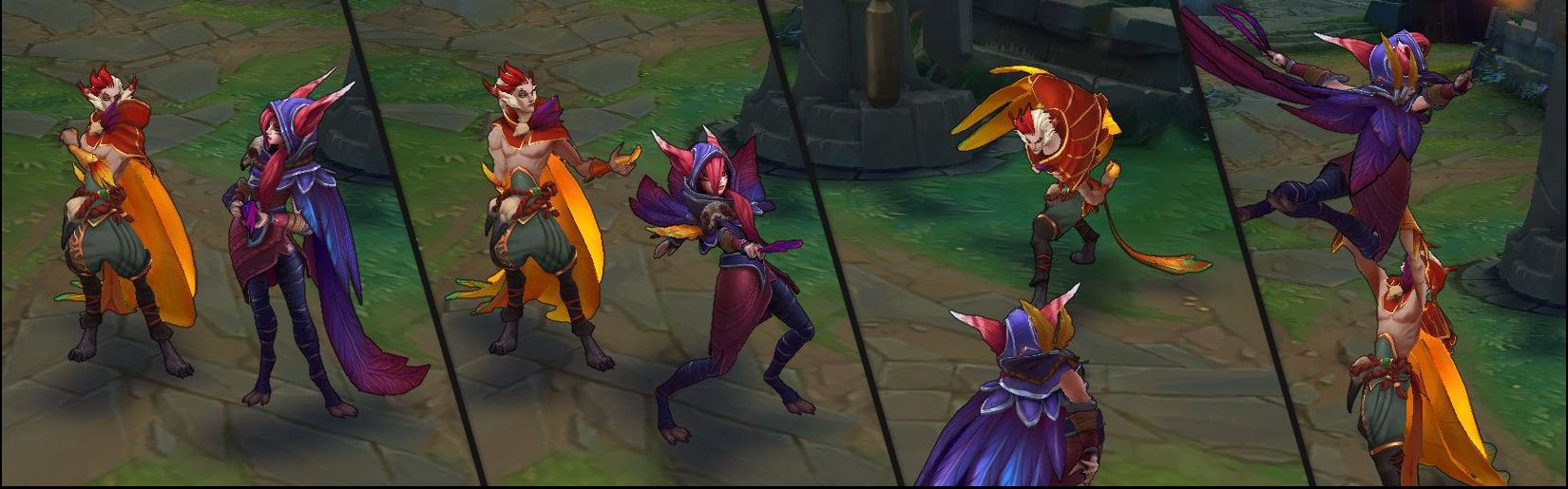 From left to right: Both are idling, Xayah starts her solo dance, Rakan opts into the dance, and they perform their synchronized dance.