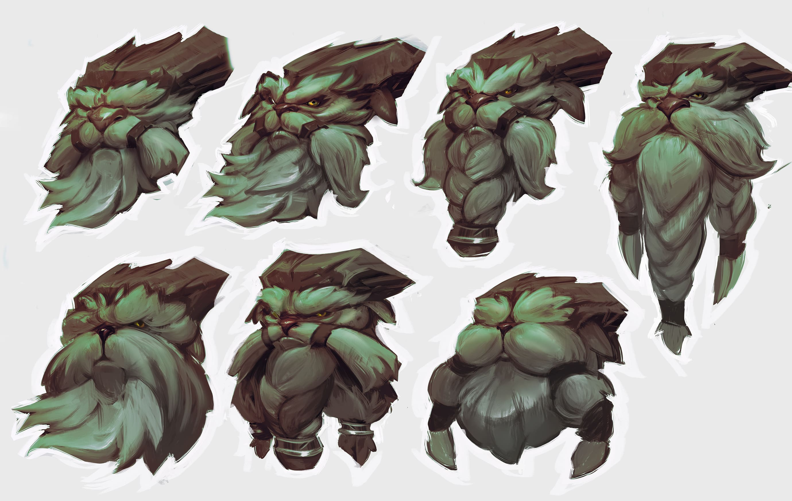 Ornn may be rough around the edges, but he's not a bad demiguy—his face needed to look gruff without seeming evil.