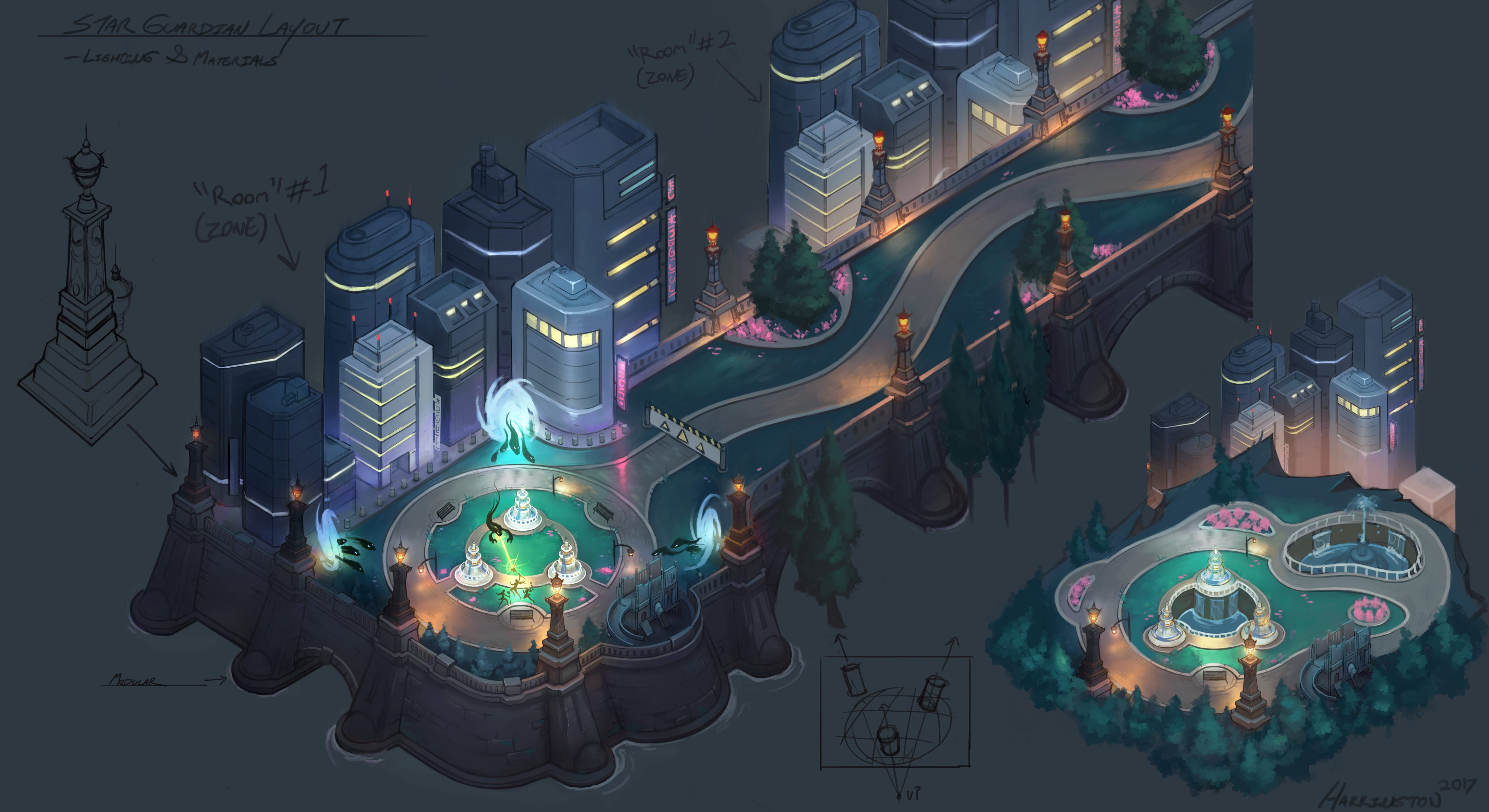 Concept art illustrating the map's layout and how the pieces fit together.