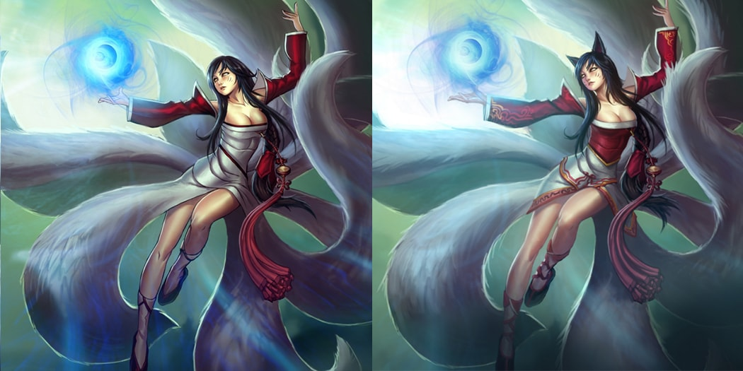 On the left is Ahri's originally published splash, and on the right is the final, modified version.