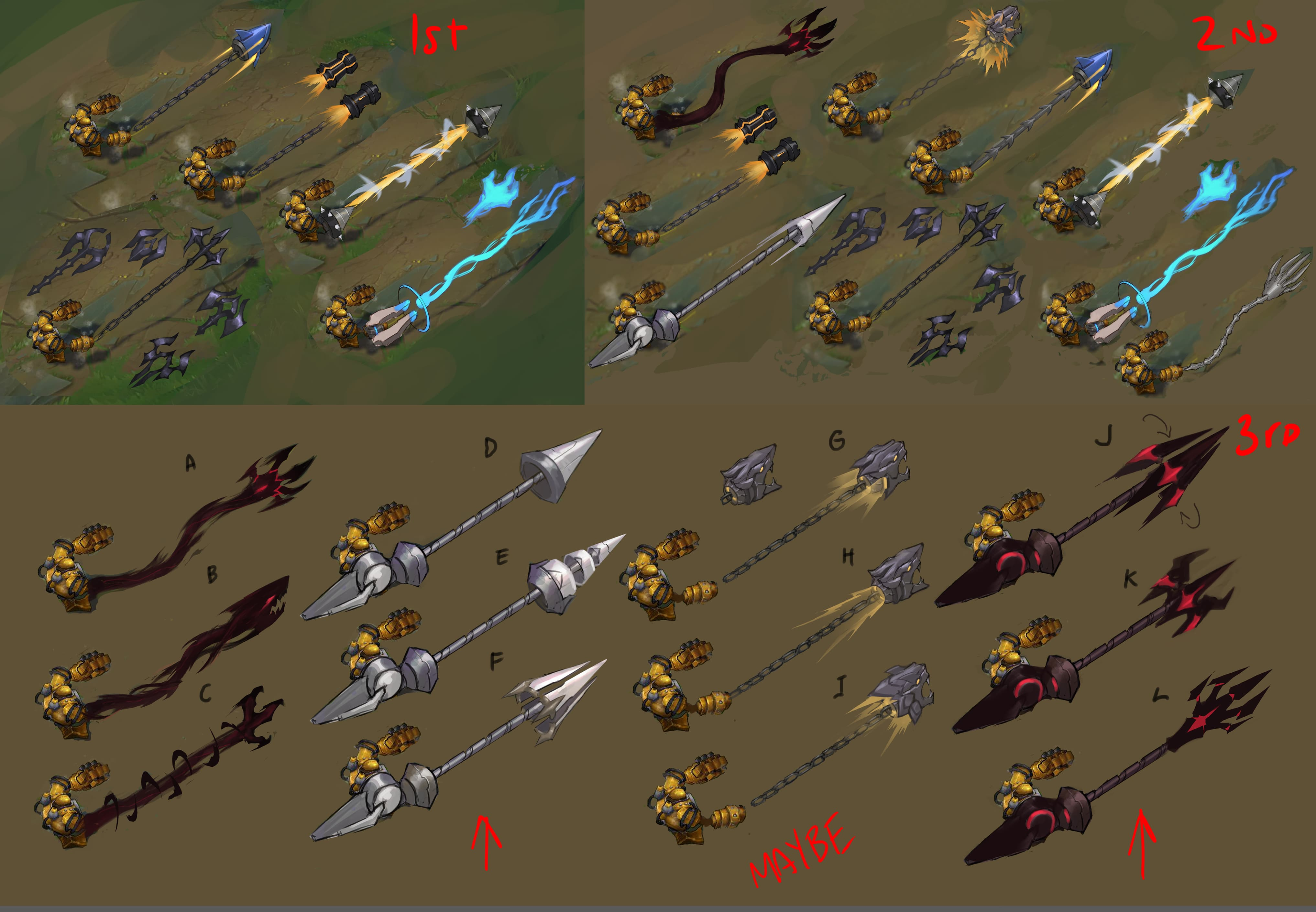 Exploring Possible Hooks (bottom-right design eventually became Lancer Rogue Blitzcrank)