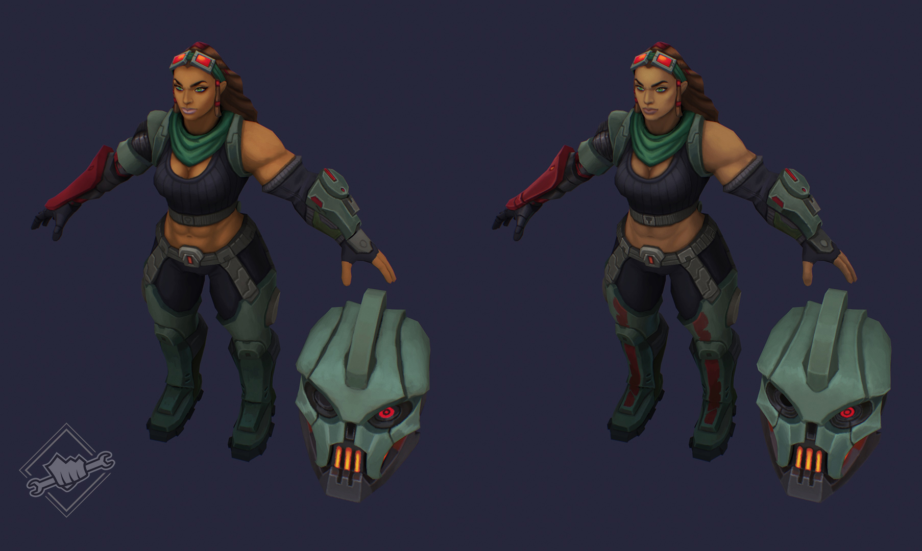 Our first paintover was a little off, so we adjusted her skin tone to be closer to base Illaoi.