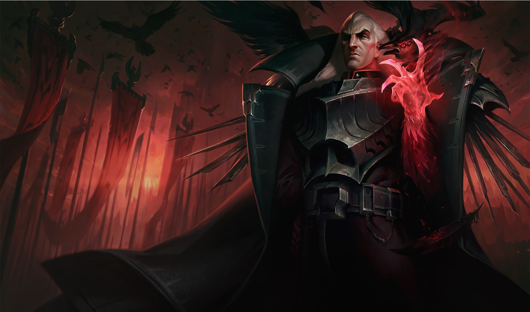 We put a lot of thought into the gesture for Swain's demon hand—we wanted him to feel relaxed but in control, with an air of brooding effortlessness.