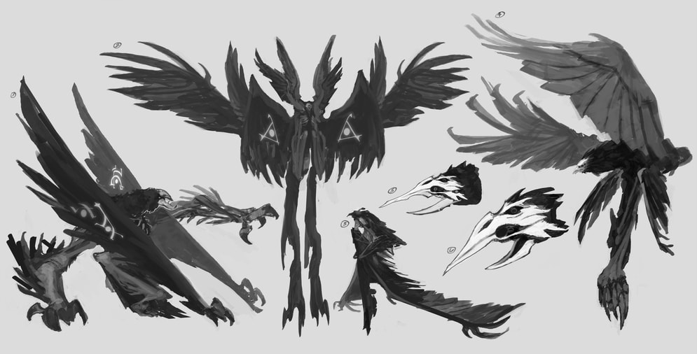 Exploring ideas for the demon whose power Swain captures and unleashes; this influenced the appearance of his demon form in-game.