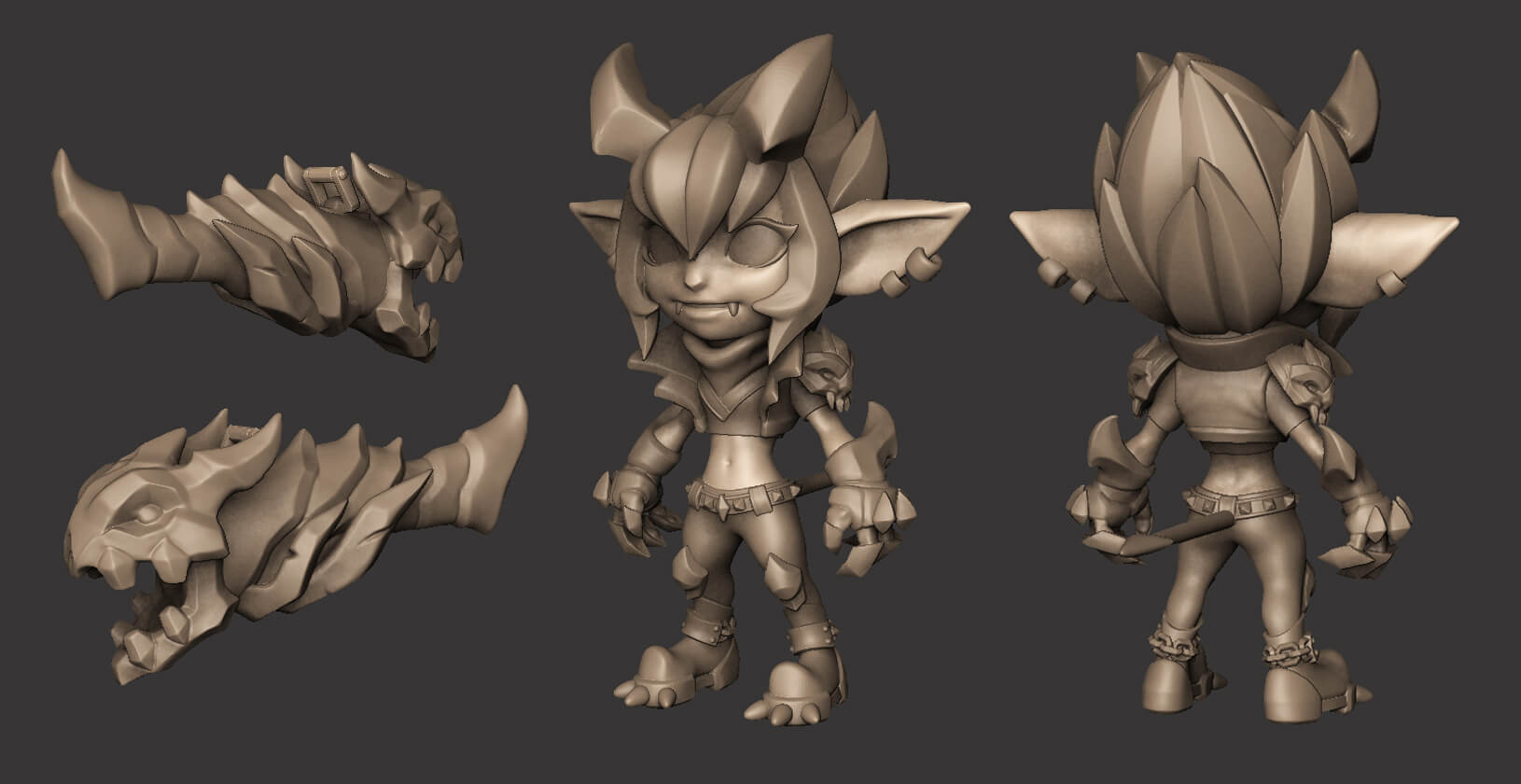 Final High-Poly Sculpt for Little Demon Tristana
