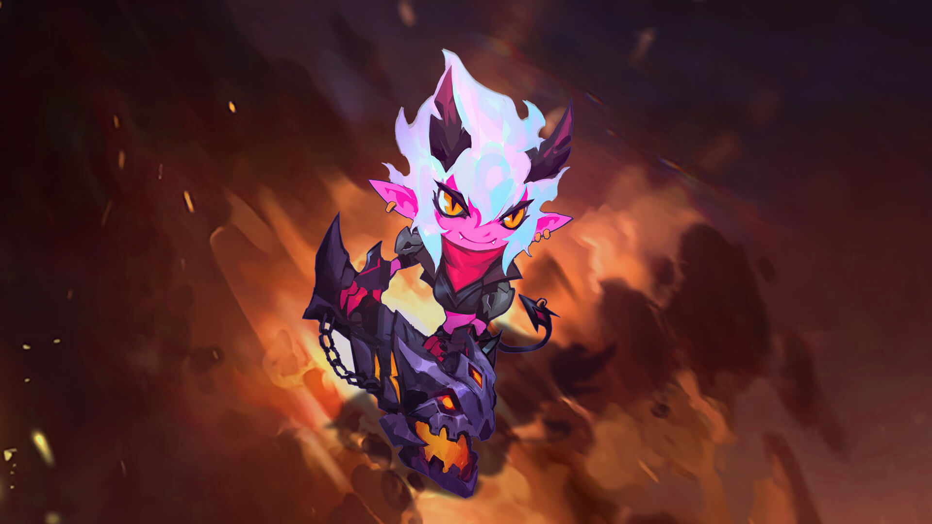 Little Demon Tristana Splash Art Vfx League Of Legends