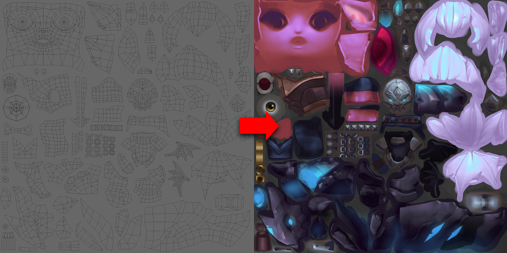 Little Demon Tristana's UVs and Work-in-Progress Texture Map