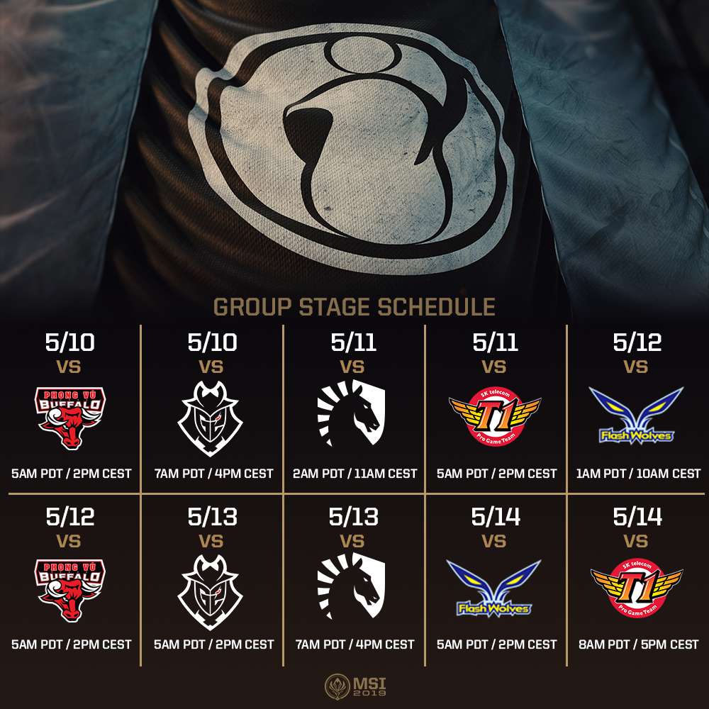 2019 MSI Group Stage Team Schedules – League of Legends