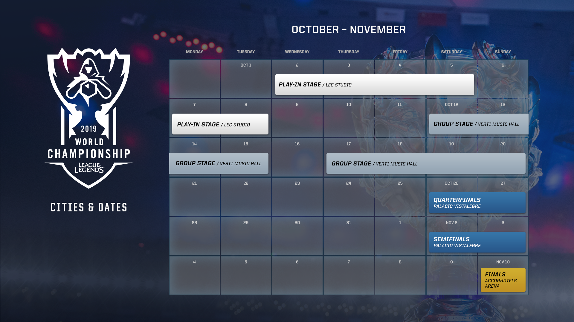 League Of Legends Worlds 2019 Schedule 2019 World Championship Cities, Venues, & Dates – League of Legends