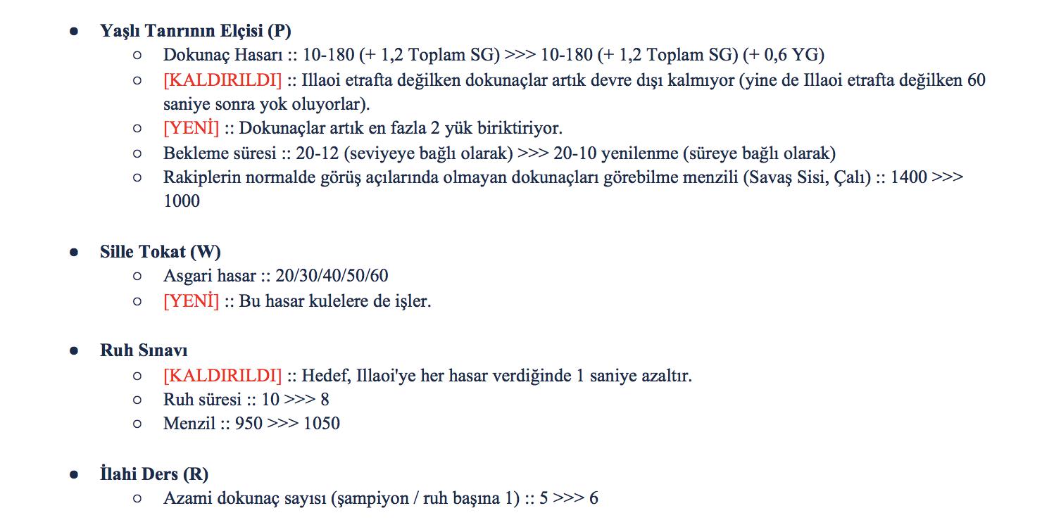 9.13'teki Illaoi'nin değişikliklerinin ilk versiyonu.