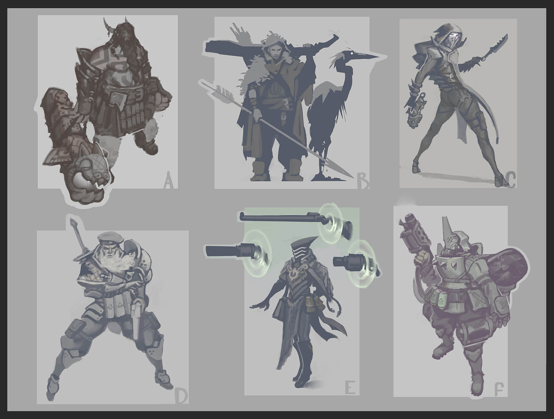 Some early Aphelios concepts including Braum's mean older brother, one of Quinn's Demacian Ranger friends, a Zaun Assassin, a Knight, a Shuriman Wizard, and a Zaun 'Bard'