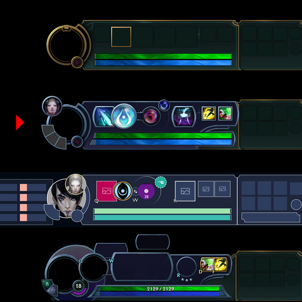 Different versions of Aphelios' HUD
