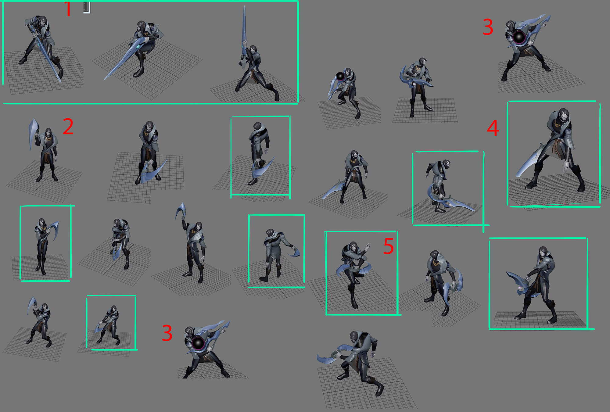 Pose explorations for Aphelios' weapons