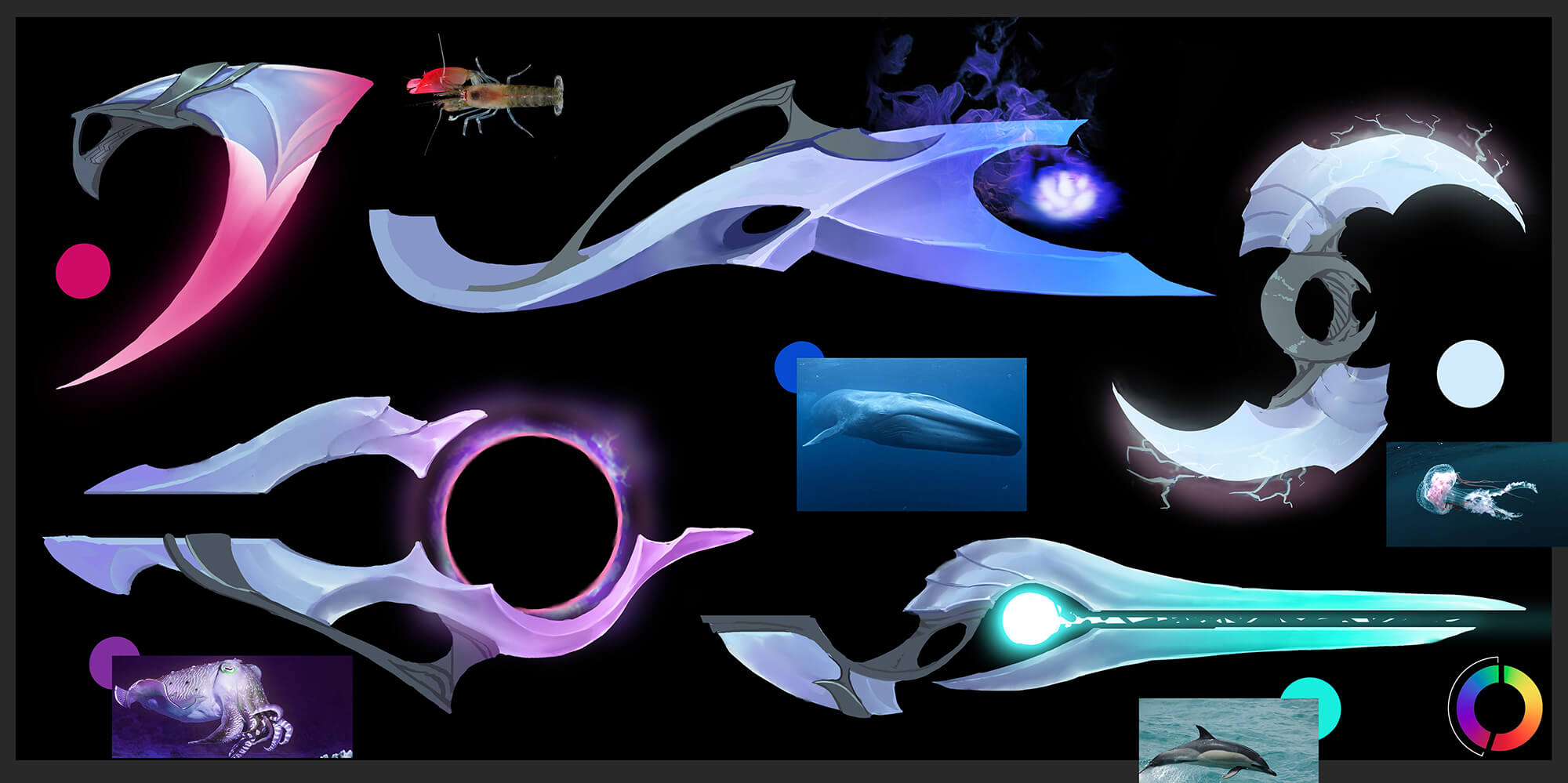 A few of Aphelios' weapon ideations